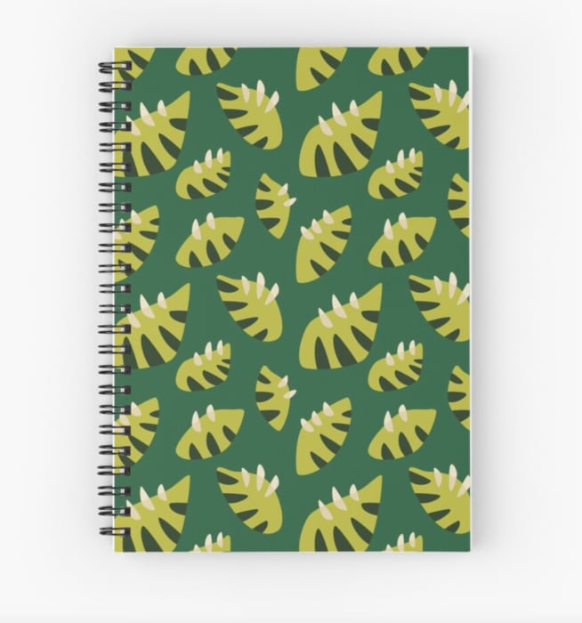 stylish leaves pattern notebook