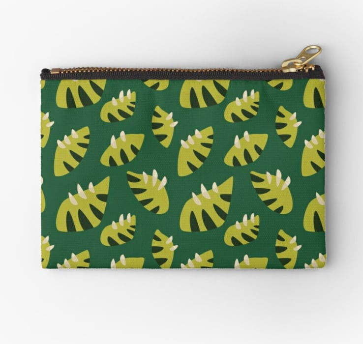 fun pouch with geometric leaf pattern