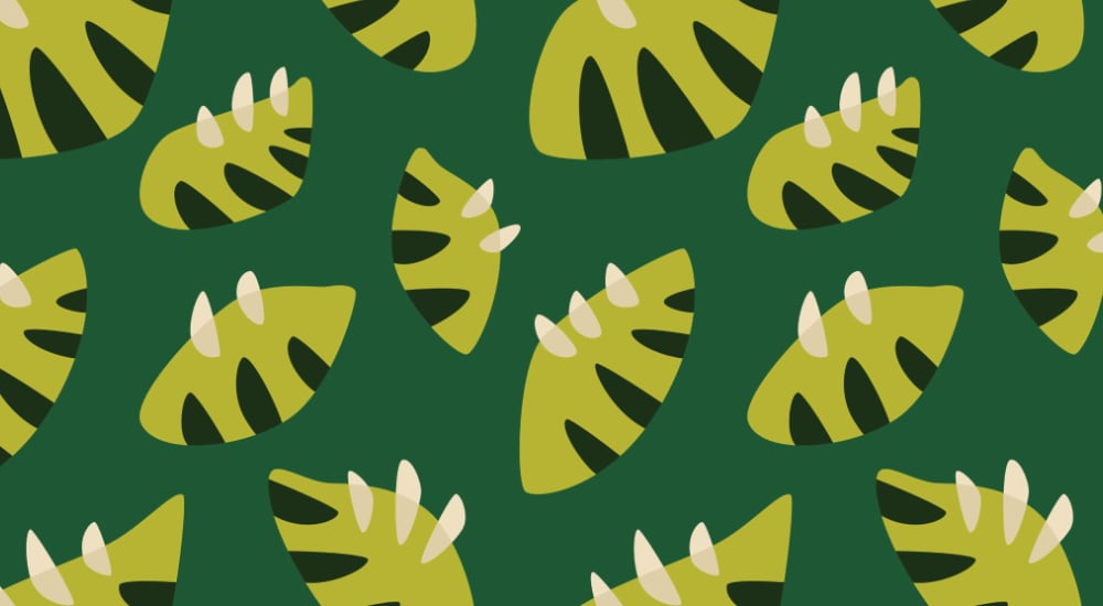 Abstract green leaves vector pattern