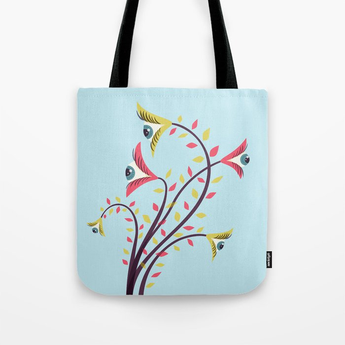 Eye flowers looking weirdly tote bag