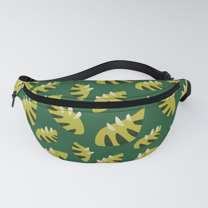 fanny pack with a pattern of green leaves