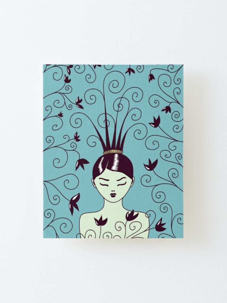 swirly hair girl canvas print