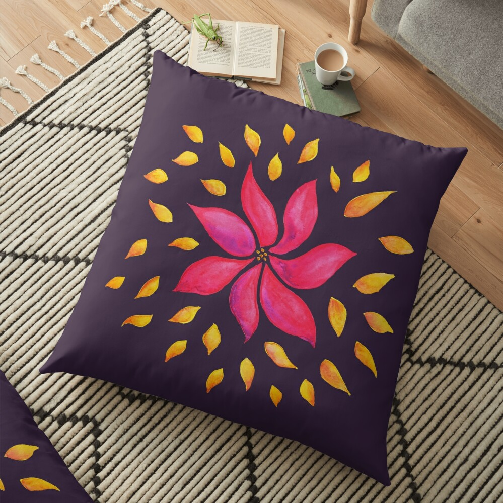 Floral floor pillow with watercolor botanical arta