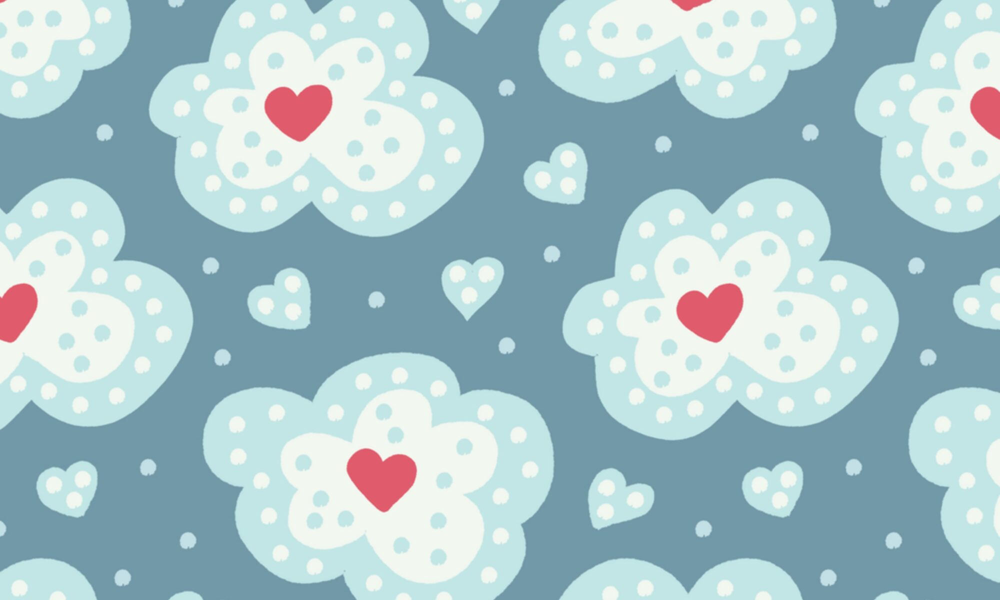 Snow clouds and hearts winter pattern