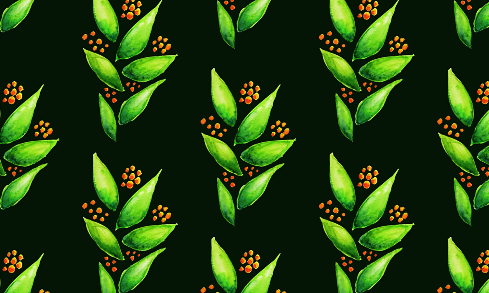 Abstract green plant with orange berries watercolor pattern